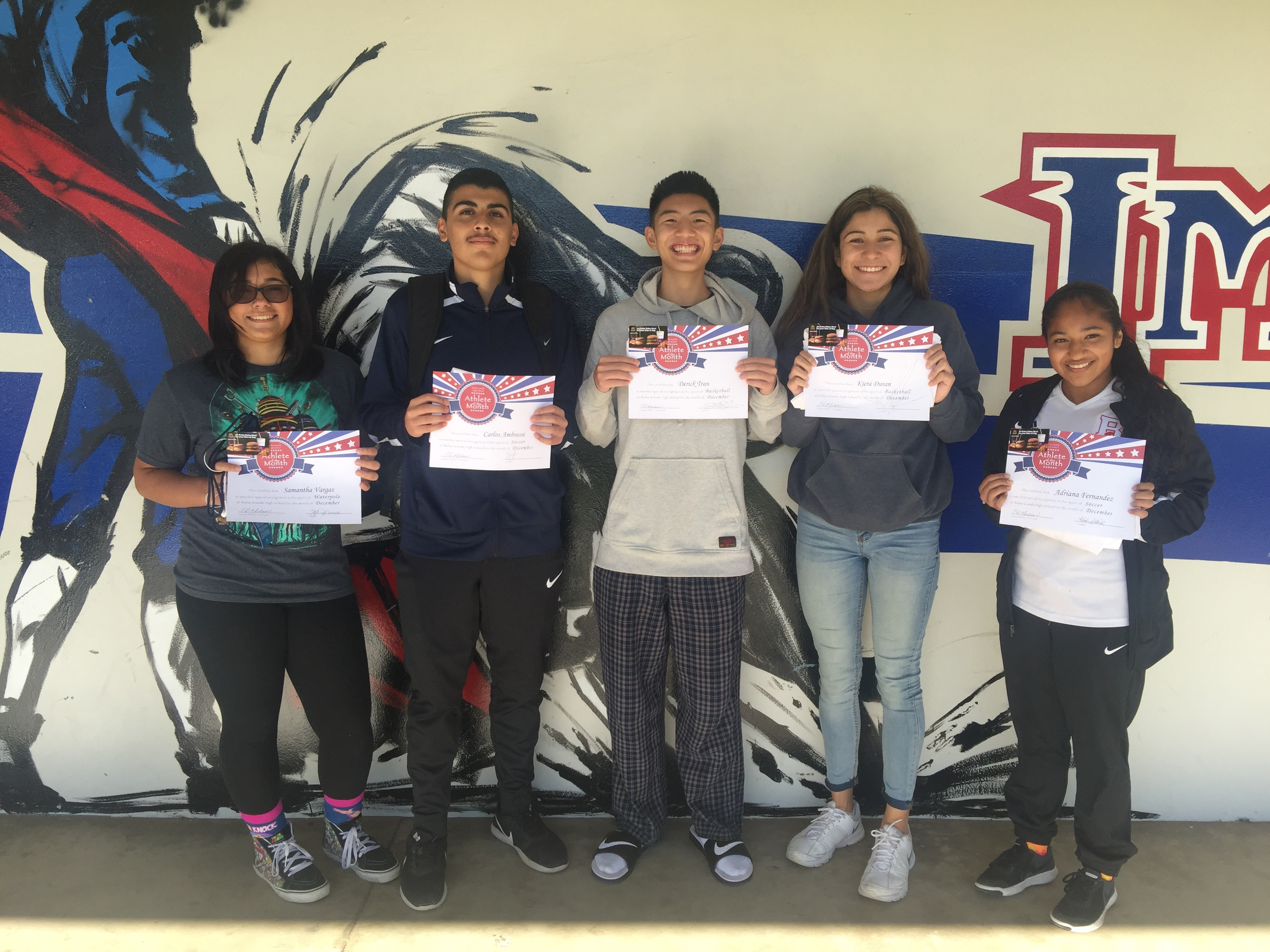 Athletes of the Month December 2016