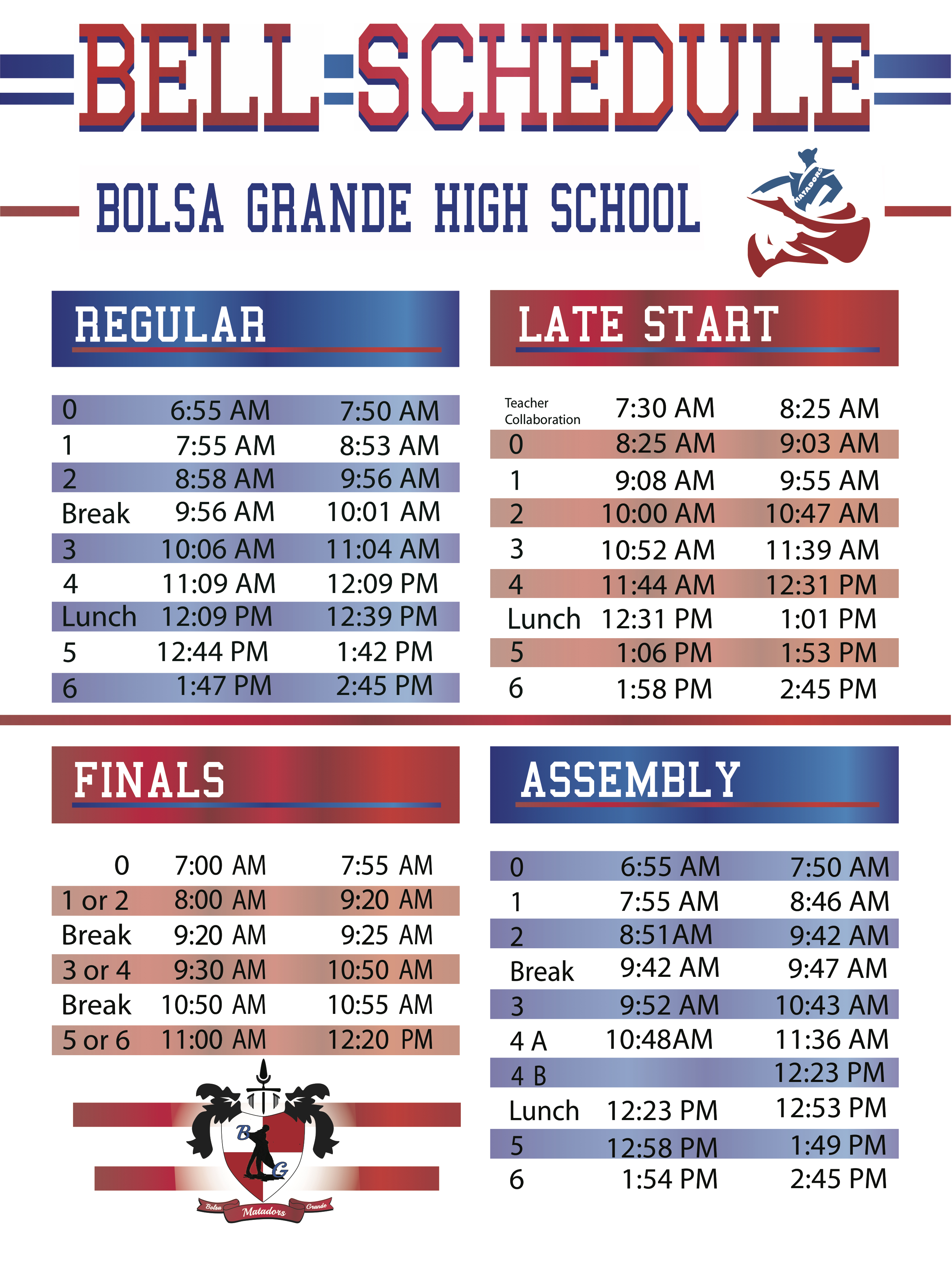 979f8cdcb If you would like to print or save this Bell Schedule, then please download  the PDF version below: 1718bellscheduleF. Bolsa Grande High School